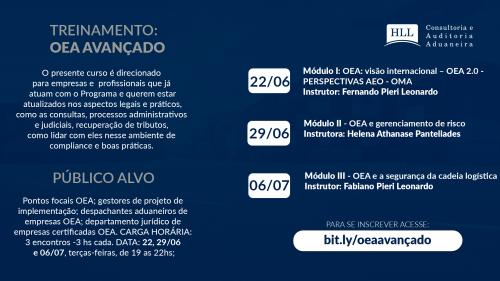 CURSO: OEA AVANÇADO – 29/06, 06/07 e 13/07